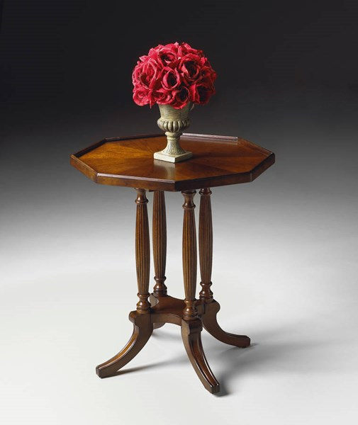 Plantation Cherry Adolphus Traditional Brown Octagonal Accent Table BSF-5015024