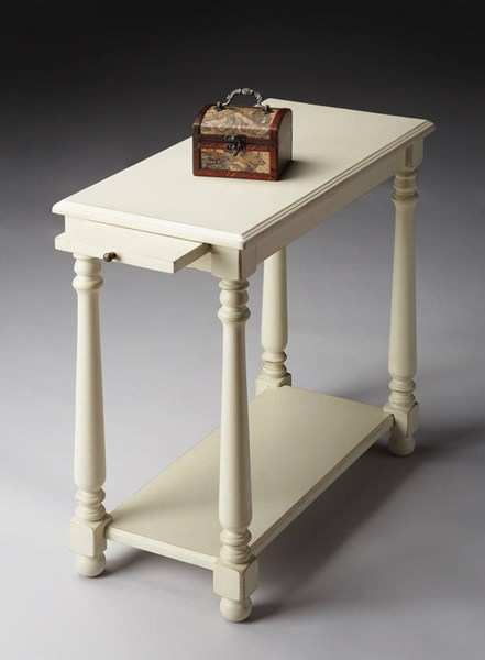 Masterpiece Devane Transitional Cottage White Chairside Table BSF-5017222