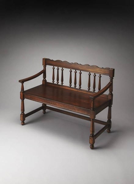Plantation Cherry Cather Traditional Dark Brown Bench BSF-5049024