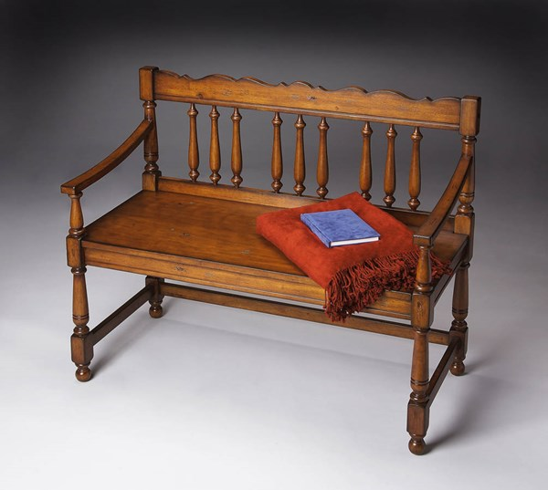 Masterpiece Cather Traditional Medium Brown Solid Wood Bench BSF-5049102