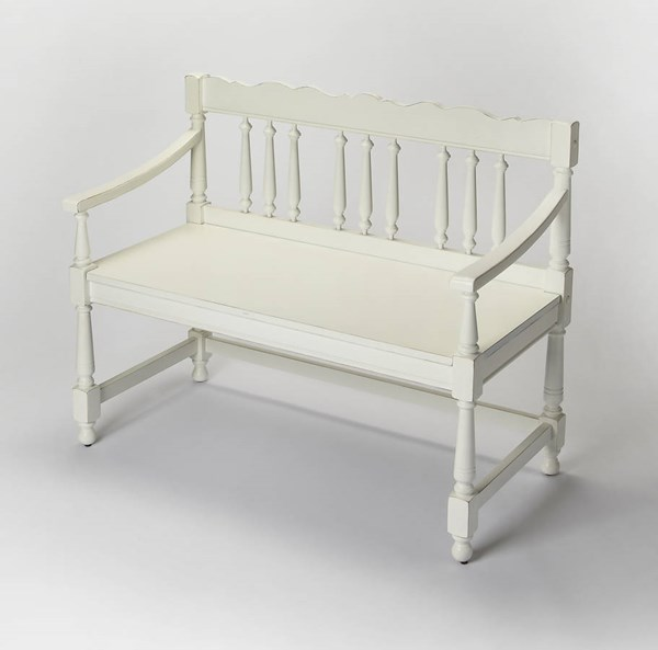 Masterpiece Cather Traditional Cottage White Solid Wood Bench BSF-5049222