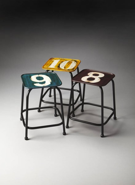 Industrial Chic Trio Modern Assorted Iron Stool Set BSF-5113330