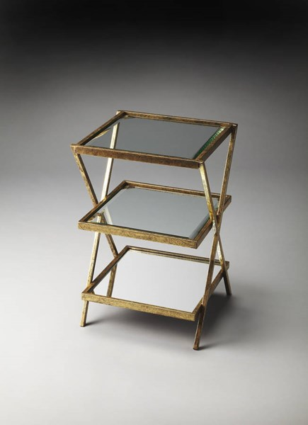 Butler Loft Delilah Antique Gold Iron Glass MDF Tiered Side Table BSF-5144226