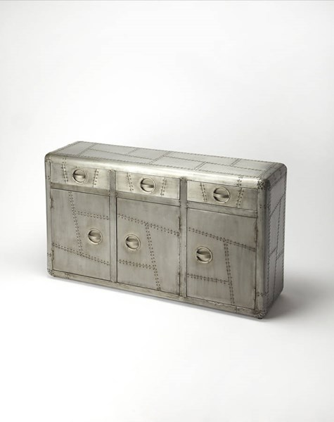 Industrial Chic Yeager Gray Solid Wood MDF Aluminum Console Cabinet bsf-5152330