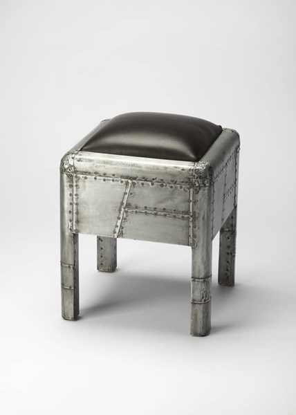 Industrial Chic Yeager Gray Wood Aluminum Leather Bunching Ottoman BSF-5155330