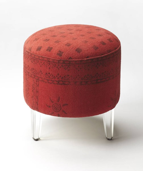 Butler Loft Borrego Red Canvas Solid Wood Acrylic Pouffe Ottoman BSF-5164293