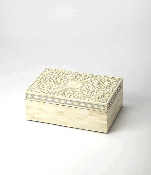 Hors D Oeuvres Traditional Gray Solid Wood MDF Resin Storage Box BSF-5174321