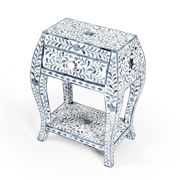 Butler Specialty Trubadur Blue White Side Table BSF-5530417