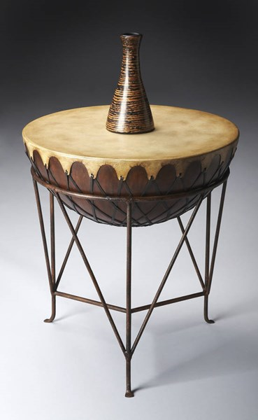 Mountain Lodge Transitional Leather Metal Base Wood End Table BSF-6045120