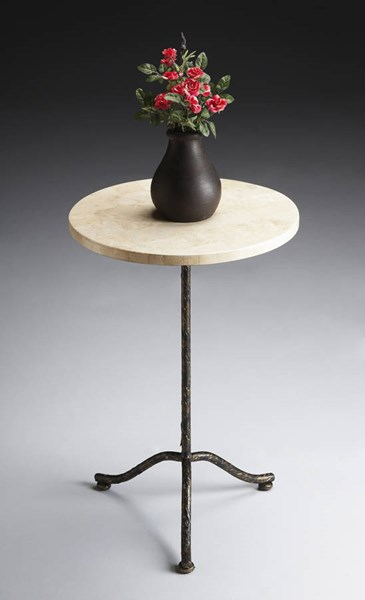 Metalworks Loreto Transitional Fossil Stone Pedestal Table BSF-6068025