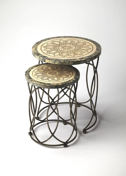 Metalworks Kinich Transitional Fossil Stone Nesting Tables BSF-6094025