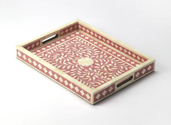 Hors D Oeuvres Vivienne Pink Solid Wood Resin Bone Serving Tray bsf-6101324