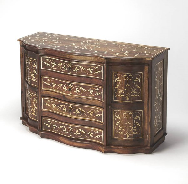 Bone Inlay Chevrier Traditional Medium Brown Wood MDF Inlays Sideboard bsf-6109338