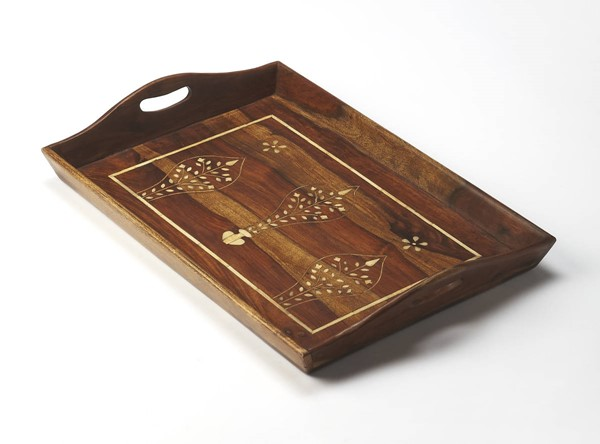 Hors D Oeuvres Buona Medium Brown Solid Wood Bone Inlays Serving Tray BSF-6110338
