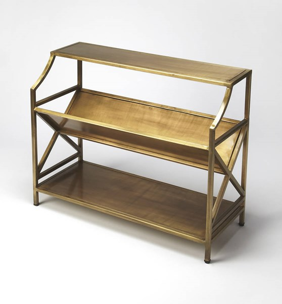 Industrial Chic Keats Modern Antique Gold Iron Librarie Bookcase BSF-6112330