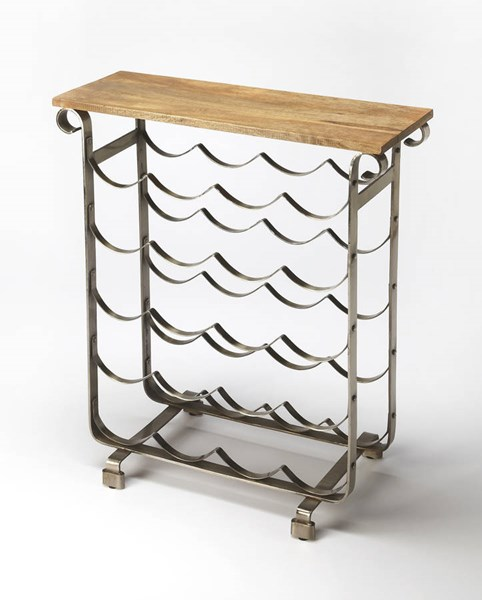 Industrial Chic Landry Transitional Iron Solid Wood Wine Rack BSF-6114330