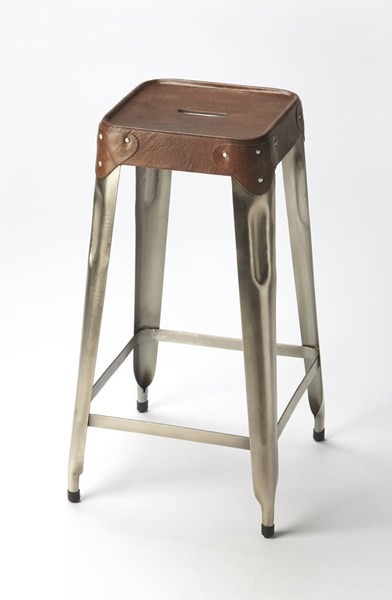 Industrial Chic Connor Modern Medium Brown Iron Leather Barstool BSF-6134344