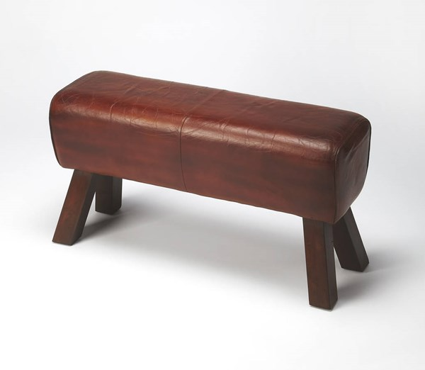Mountain Lodge Masterson Transitional Brown Solid Wood Leather Bench BSF-6135344