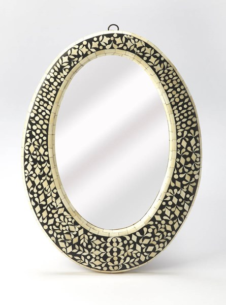 Bone Inlay Orzo Black Sheesham Wood Resin Inlays Oval Wall Mirror BSF-6149318