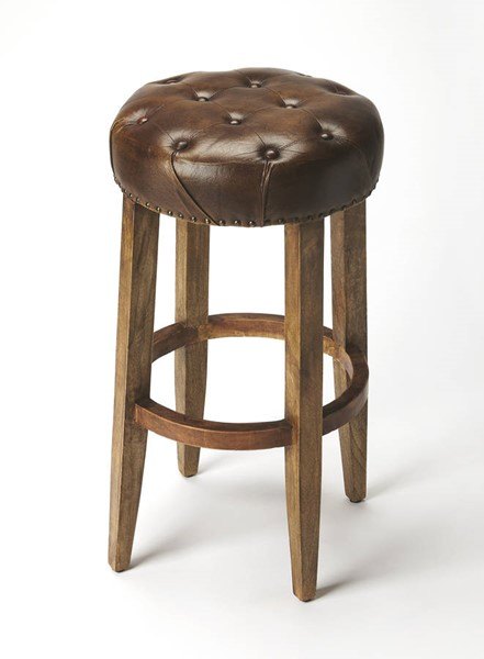 Accent Seating Gallatin Dark Brown Leather Solid Wood Bar Stool BSF-6166344