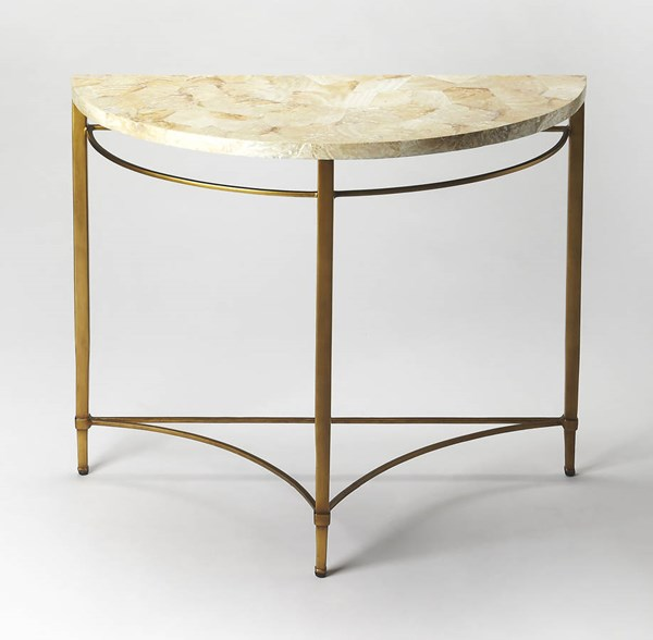 Metalworks Marlena Gold Shell Metal Plywood Demilune Console Table BSF-6185025