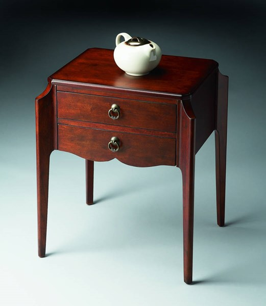 Plantation Cherry Wilshire Dark Brown Rubberwood MDF Accent Table BSF-7016024