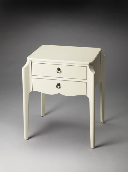 Masterpiece Wilshire Glossy White Poplar Solids MDF Accent Table BSF-7016304