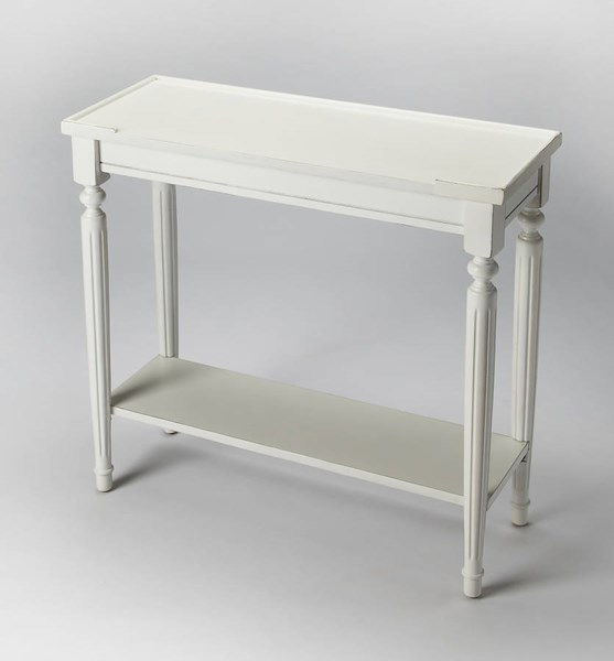 Masterpiece Aubrey Cottage White Rbberwood Solids MDF Console Table BSF-7036222