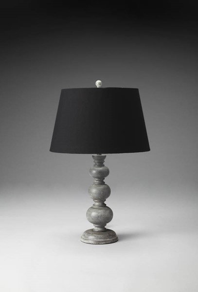 Hors D Oeuvres Traditional Gray Carved Wood Table Lamp BSF-7102116