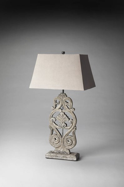 Hors D Oeuvres Traditional Cathedral Gray Aluminum Iron Table Lamp BSF-7126116