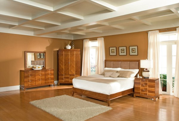 Lake Shore Drive Transitional Medium Brown King Leather Bed BSF-9062105