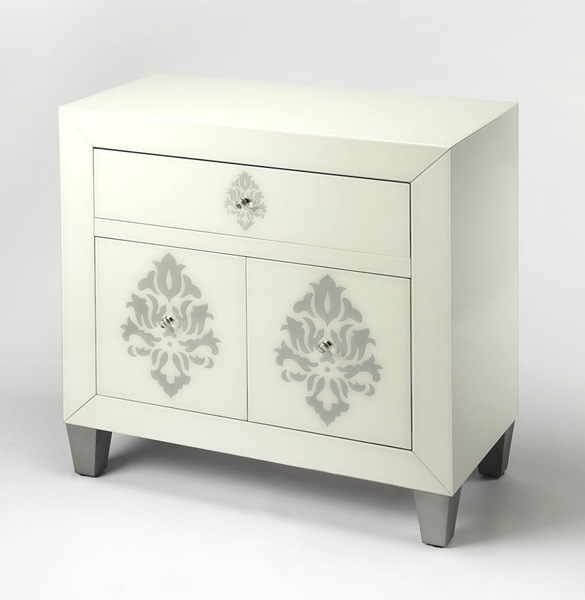 Cosmopolitan Olana Modern White Damask Wood MDF Glass Chest BSF-9207343