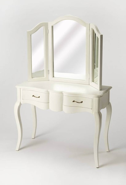 Masterpiece Nadia Cottage White Solid Wood MDF Glass Vanity BSF-9303222