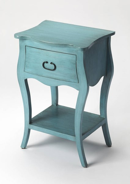 Masterpiece Rochelle Transitional Blue Solid Wood MDF Nightstand BSF-9308301