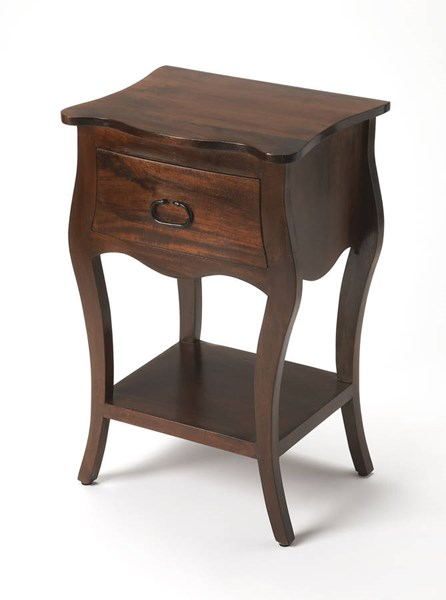 Masterpiece Rochelle Transitional Dark Brown Solid Wood MDF Nightstand BSF-9308342