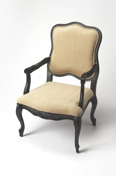 Accent Seating Clea Black Licorice Hardwood Faux Linen Accent Chair bsf-9507994