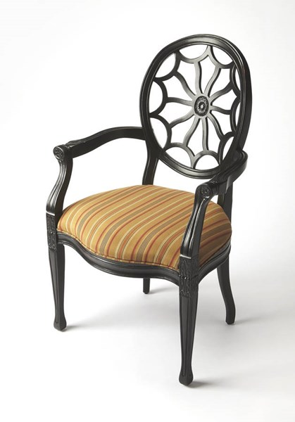 Accent Seating Allison Black Licorice Hardwood Fabric Accent Chair bsf-9508995