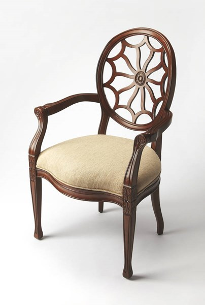 Accent Seating Allison Dark Brown Wood Faux Linen Accent Chair bsf-9508996