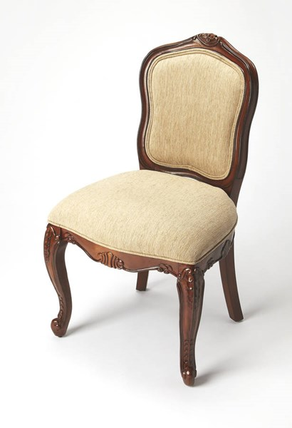 Accent Seating Flora Dark Brown Wood Faux Linen Accent Chair bsf-9509996