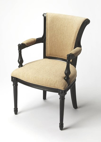 Accent Seating Carina Black Licorice Hardwood Faux Linen Accent Chair bsf-9510994
