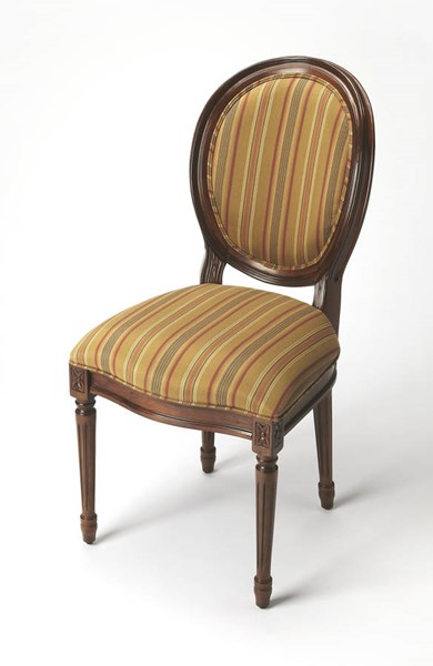 Accent Seating Talbot Dark Brown Stripe Hardwood Fabric Side Chair bsf-9512992