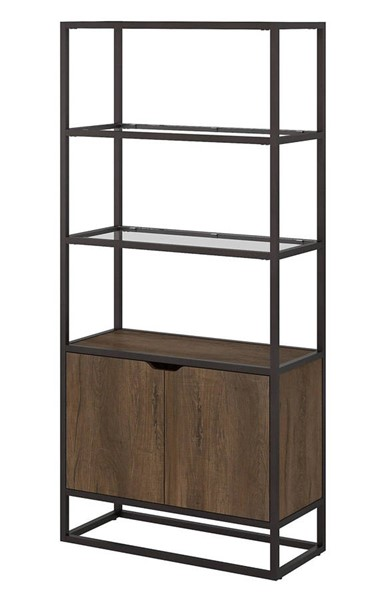 Bush Furniture Anthropology Rustic Brown Bookcase with Doors BUSH-ATB130RB-03
