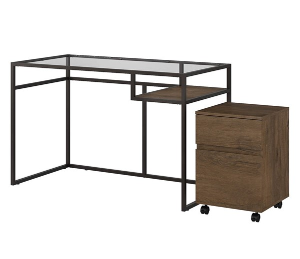 Bush Furniture Anthropology Rustic Brown 48W Desk with Mobile File BUSH-ATH004RB