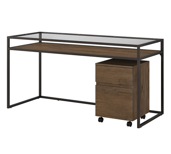 Bush Furniture Anthropology Rustic Brown 60W Desk with Mobile File BUSH-ATH006RB