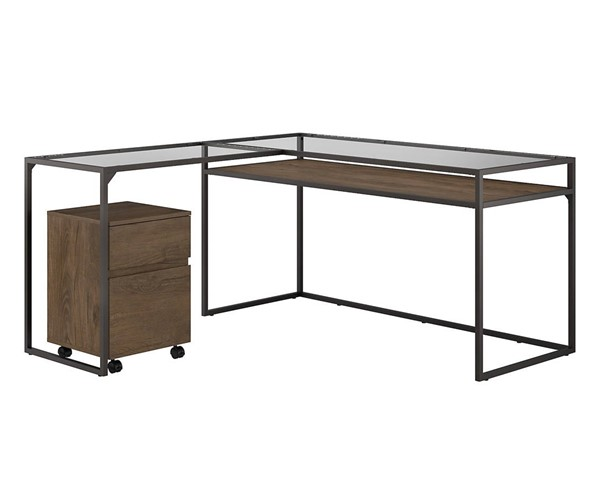 Bush Furniture Anthropology Rustic Brown 60W L Desk with Mobile File BUSH-ATH008RB