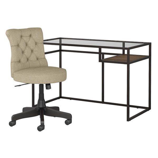 Bush Furniture Anthropology Brown 2pc Writing Desk and Tufted Chair Set BUSH-ATD148-HOF-S1