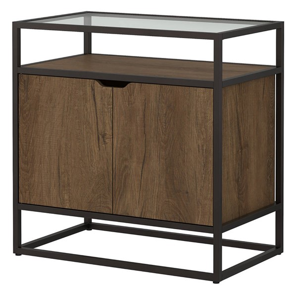 Bush Furniture Anthropology Rustic Brown Storage Record Player Stand BUSH-ATH017RB