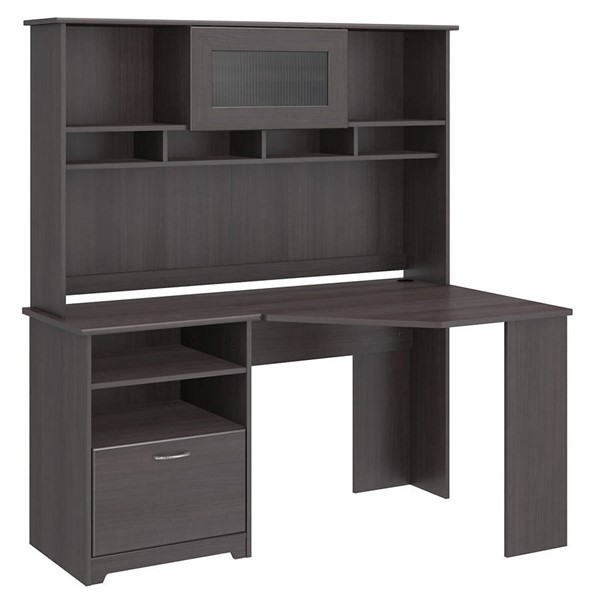 Bush Furniture Cabot Heather Gray Corner Desk with Hutch BUSH-CAB008HRG