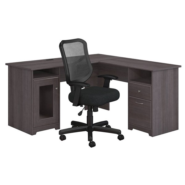 Bush Furniture Cabot Heather Gray 2pc L Desk and Chair Set BUSH-CAB039HRG