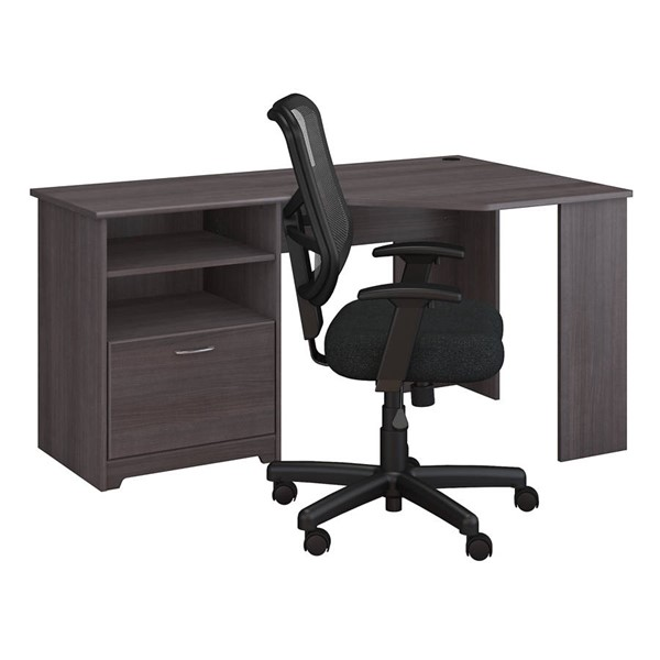 Bush Furniture Cabot Heather Gray 2pc Corner Desk and Chair Set BUSH-CAB040HRG